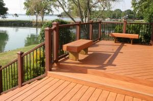 Archadeck of Charlotte designed and built this composite deck, rail, and benches at Lake Norman