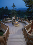 custom design composite deck with firepit by Archadeck of Charlotte