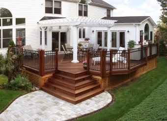 Deck IPE with pergola and paver patio