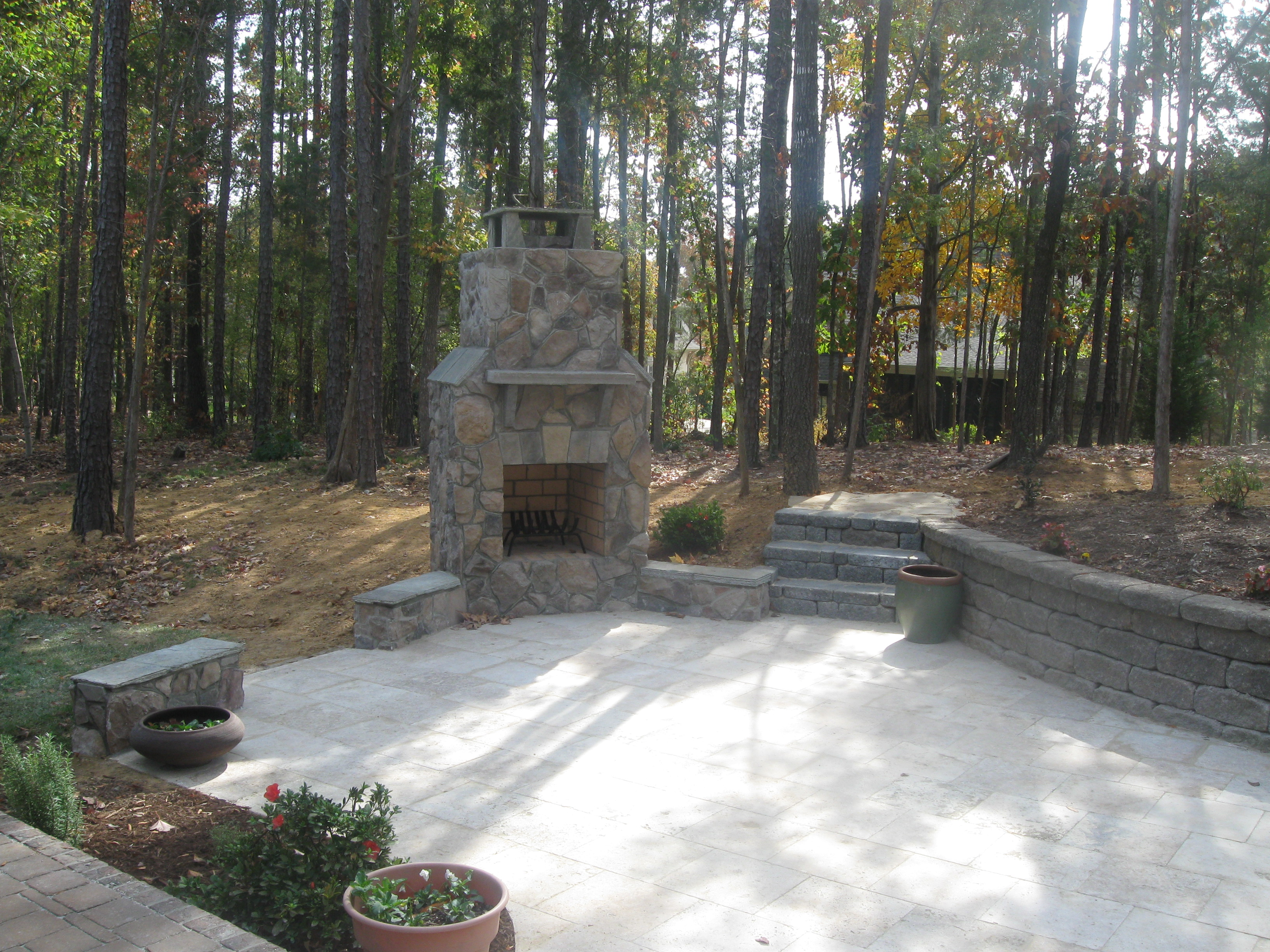 Ordinaire Stone Outdoor Fireplace With Stone Travertine Patio