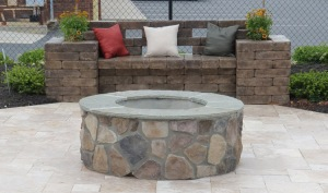 Charlotte outdoor firepit with stone bench