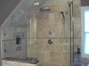 Charlotte bathroom remodeling by Value Remodelers and Handyman Services with frameless glass