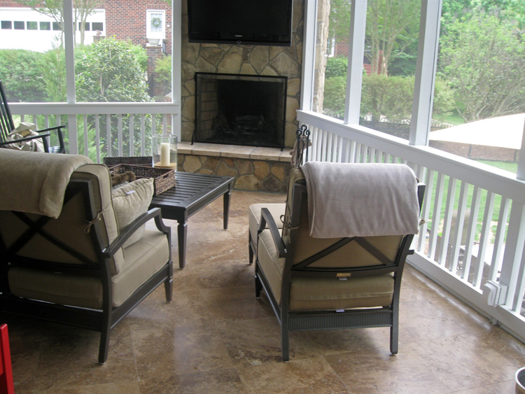 travertine tile screen porch with stone outdoor fireplace - Outdoor Screened Porches
