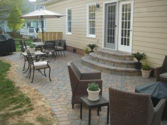Paver patio with paver steps