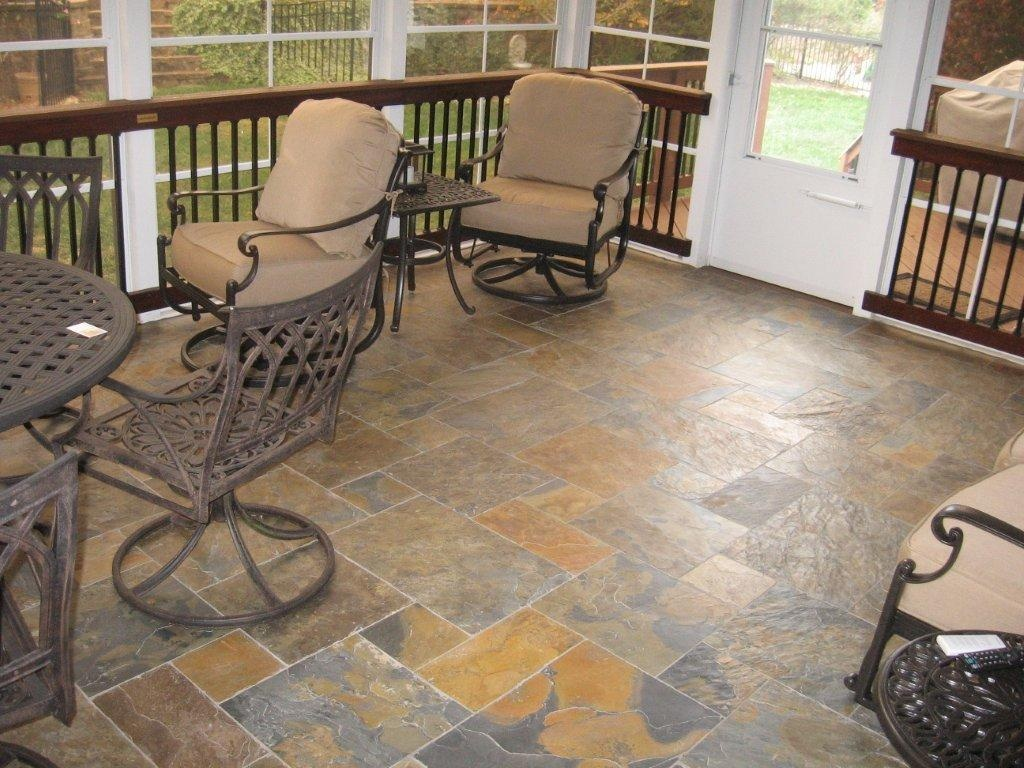 Screen porch flooring options archadeck of charlotte for Covered porch flooring options