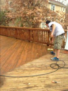 This si a good example of Renew Crew of Charlotte can clean and protect wood decking