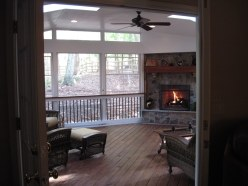 EZE Breeze Screen Porch with Outdoor Fireplace integrated and sky lights