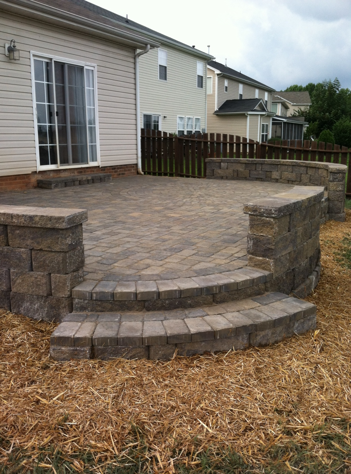 Paver Patio With Large Sitting Walls Archadeck Of Charlotte