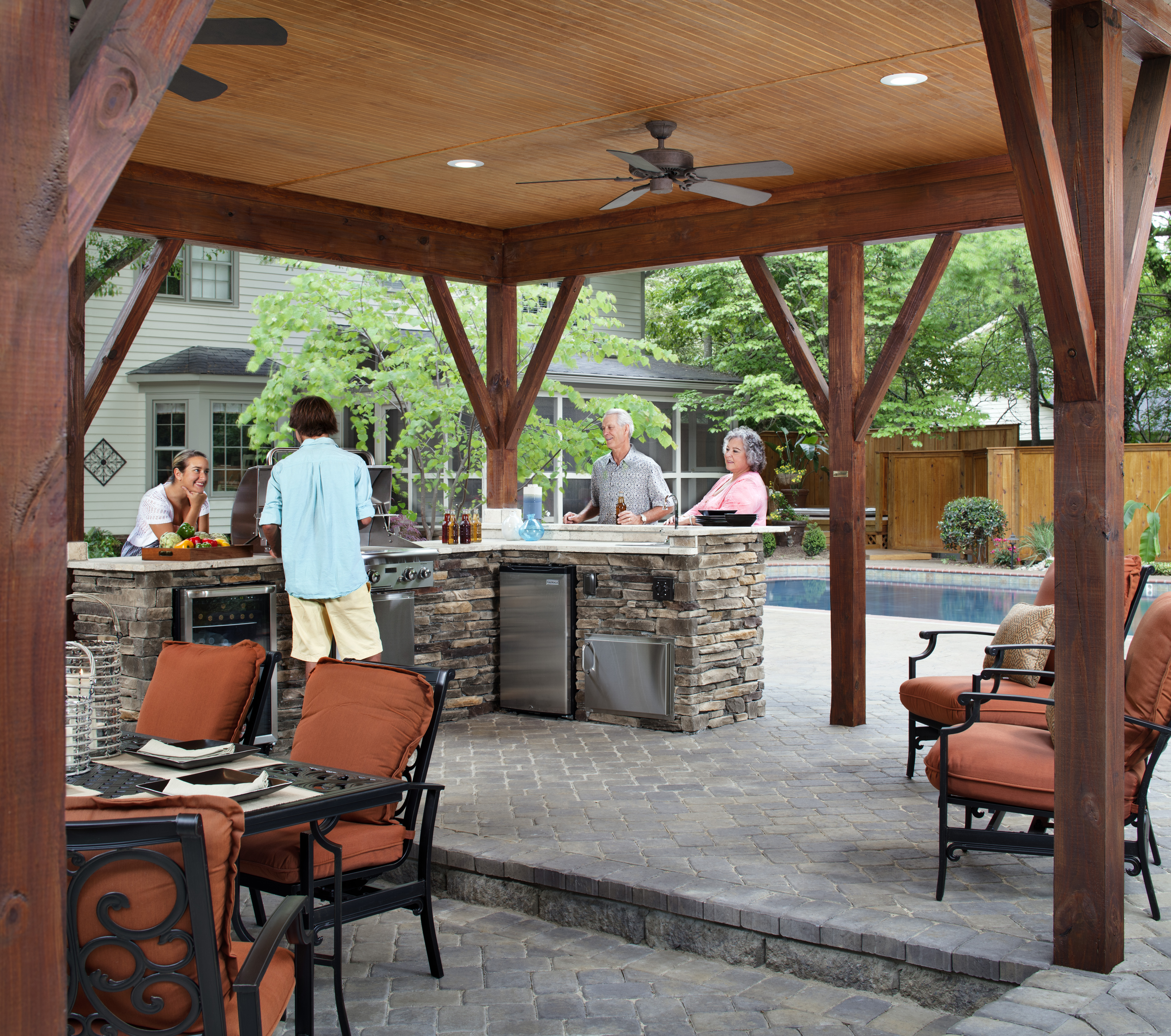 Archadeck Of Charlotte Designed And Built This Covered Outdoor Kitchen With  A Cabana And All Of