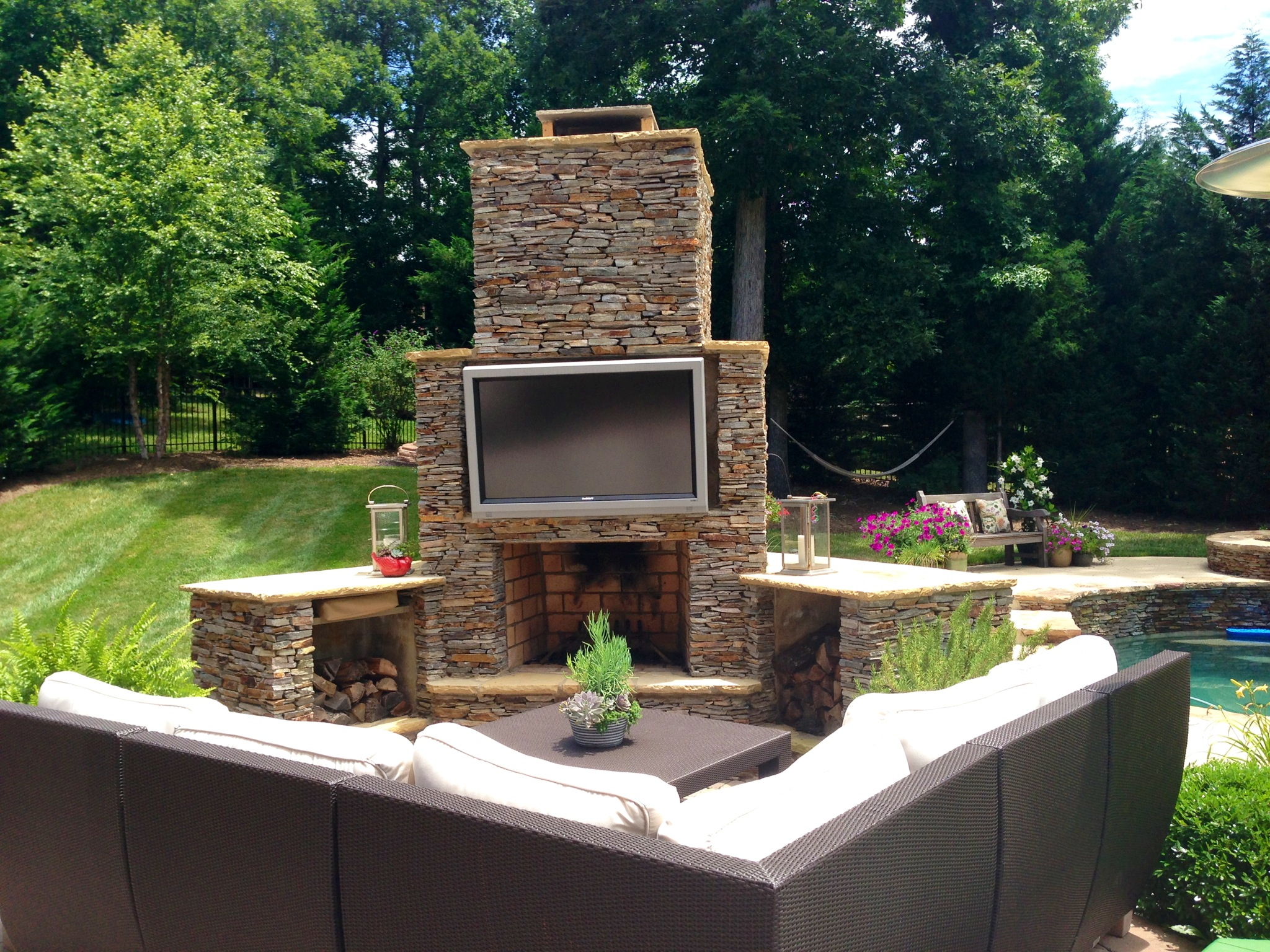 Archadeck Of Charlotte Designed And Built This Outdoor Living Space  Featuring A Sunbrite Outdoor TV And