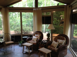 Archadeck of Charlotte designs and builds porches like this and added porch draperies