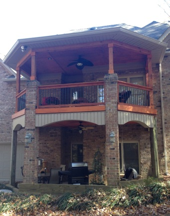 Archadeck of Charlotte designed and built this double-deck open porch in Matthews, NC