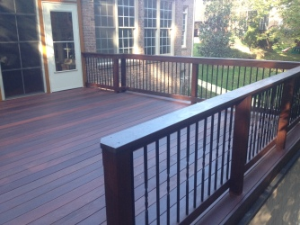 This Ipe deck was built by Archadeck of Charlotte and utilized a powder-coated aluminum balluster by Dekorators with a twist in the spindle for added character