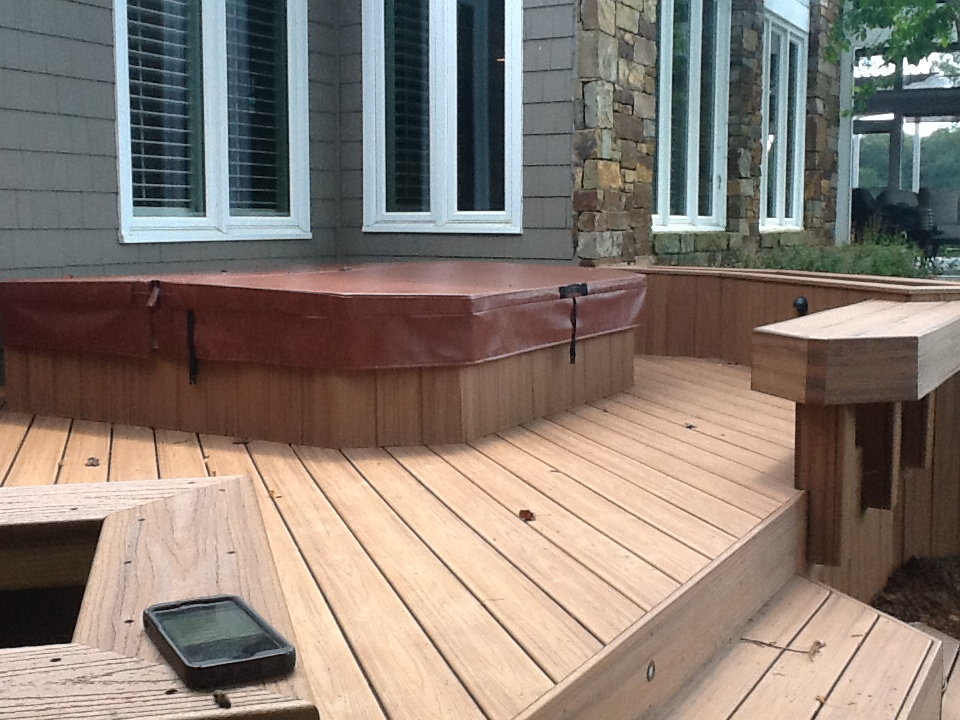 Trex Transcends Composite Deck With A Hot Tub Recessed Onto A Cement Pad  And Composite Beching