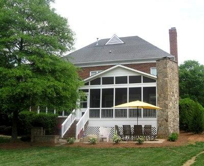 Gable Roof Screen Porch with Custom Fireplace