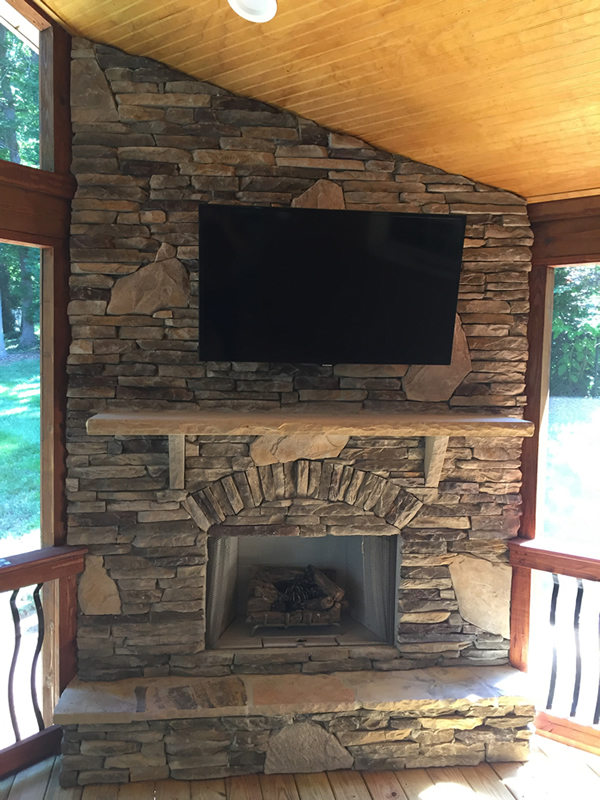 Archadeck of Charlotte stone outdoor fireplace