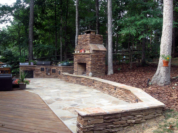 Charlotte large patio with outdoor fireplace and outdoor kitchen