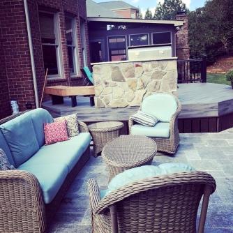 Charlotte outdoor kitchen travertine patio